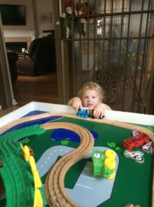 The kid seriously likes trains