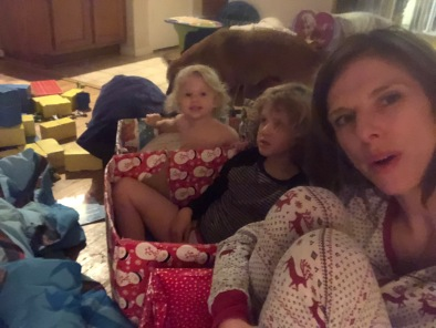 Christmas cuddles (of course), Christmas PJs, Christmas candles, playing Santa, Christmas Eve gifts, Christmas movie train,